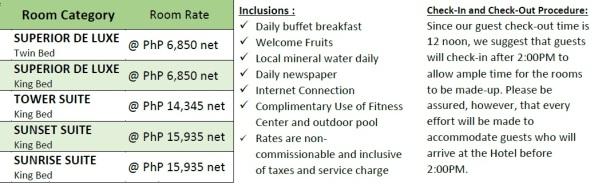 Manila hotel rates.